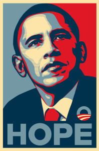 Obama Hope Poster, Shepard Fairey, used under fair use for educational purposes