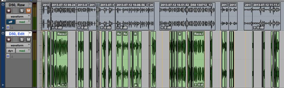 Raw and Edit Tracks