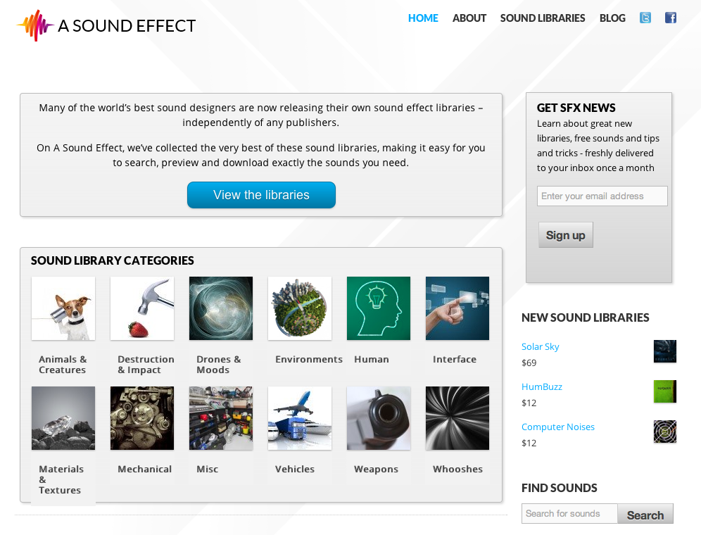A Sound Effect Website Splash