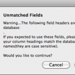 Soundminer unmatched fields warning