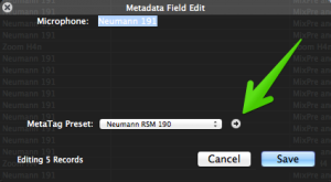Click the grey arrow to assign metadata.
