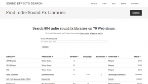 Sound Effects Search - search results