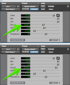 Delay plug-in settings