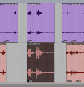 One paired recording selected and roughed in