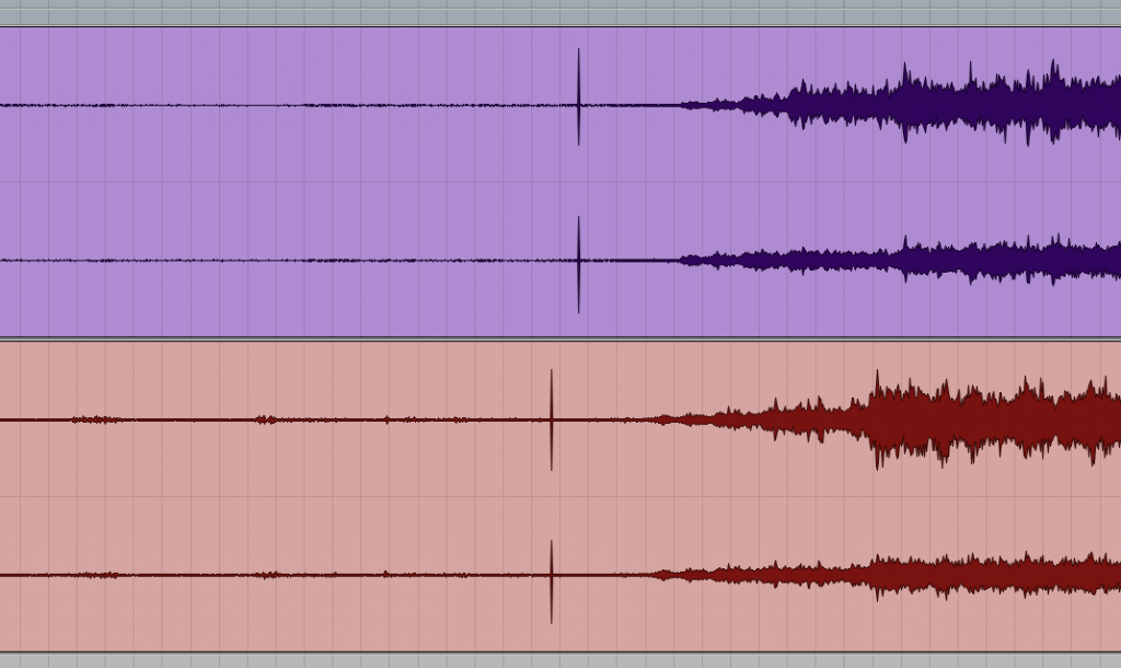 The spikes on tracks 1/2 are our of sync with tracks 3/4