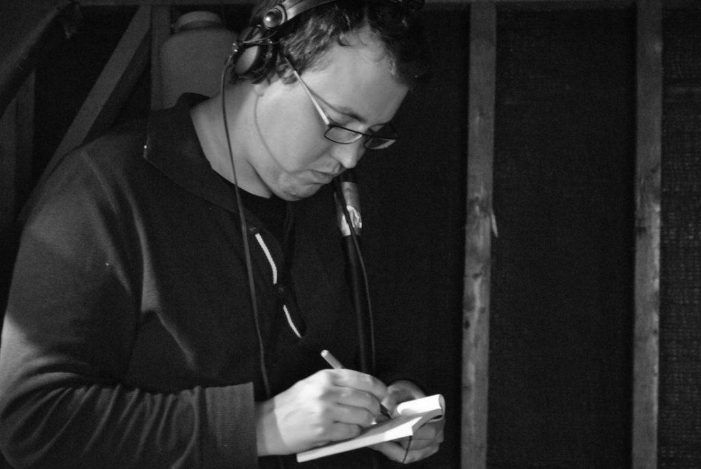 Michael F. Bates working on set