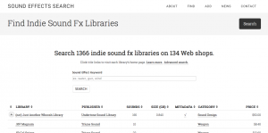 Sound Effects Search website