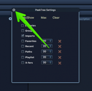Close the PeekTree options