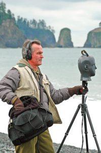 Gordon Hempton recording at Rialto Beach