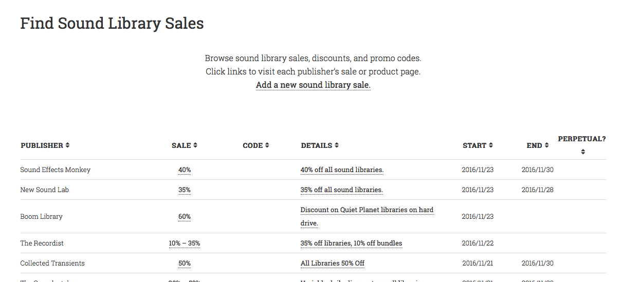 New: A Sound FX Library Sale & Discount Listing Page