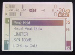 Sony PCM-D100 Option Menu