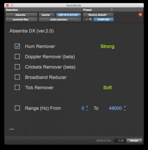 Absentia DX AAX Plug In Snapshot