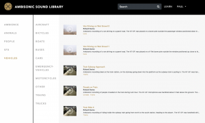 Ambisonic Sound Library Categories